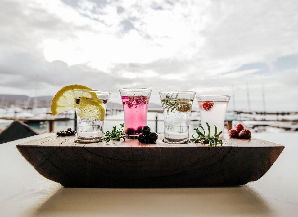 4 Gin shot glasses at The Garden Bar Airlie Beach