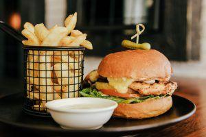 Beef Burger at the garden bar