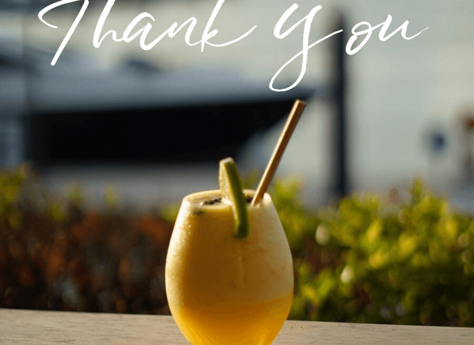Cocktail with the words thank you