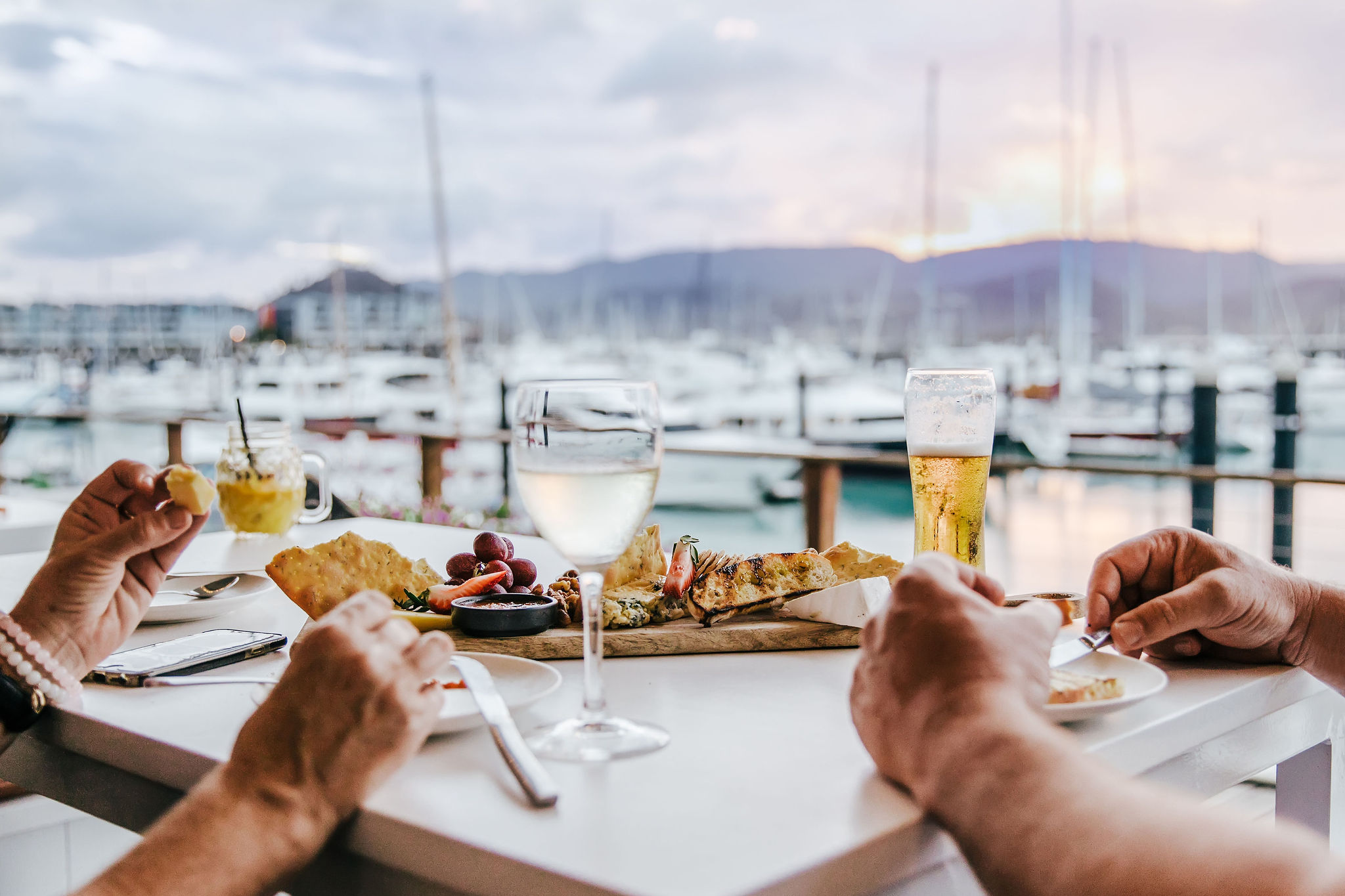 Seafood plater with marina view